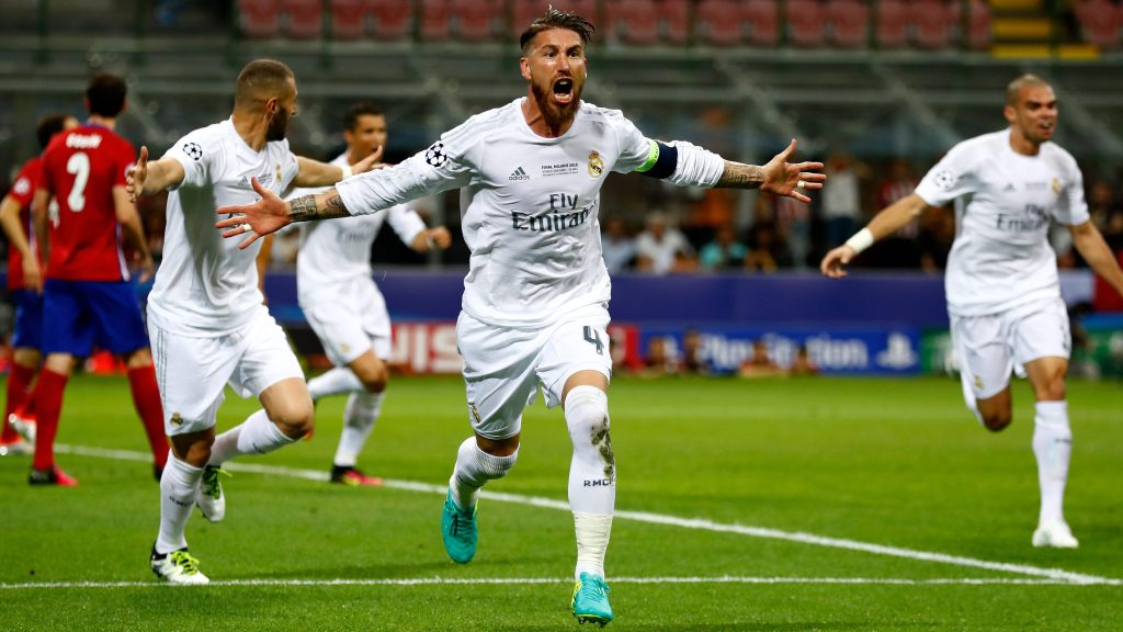 MILAN, ITALY - MAY 28: Sergio Ramos of Real Madrid celebrates after scoring the opening goal during the UEFA Champions League Final match between Real Madrid and Club Atletico de Madrid at Stadio Giuseppe Meazza on May 28, 2016 in Milan, Italy. (Photo by Clive Rose/Getty Images)