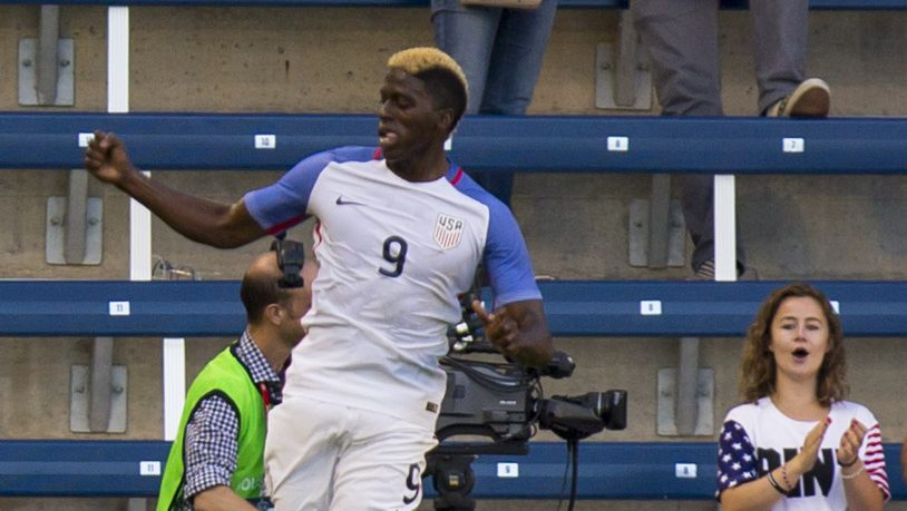 KANSAS CITY, KS - MAY 28: Gyasi Zardes #9 of USA celebrates after scoring the first goal against Bolivia in the first half of the COPA America Centenario USA 2016 on May 28, 2016 at Children's Mercy Park in Kansas City, Kansas. (Photo by Kyle Rivas/Getty Images)
