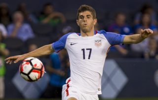 KANSAS CITY, KS - MAY 28: Christian Pulisic #17 of USA attempts to chip a pass past Guillermo Viscarra #23 of Bolivia late in the second half of the COPA America Centenario USA 2016 on May 28, 2016 at Children's Mercy Park in Kansas City, Kansas. (Photo by Kyle Rivas/Getty Images)