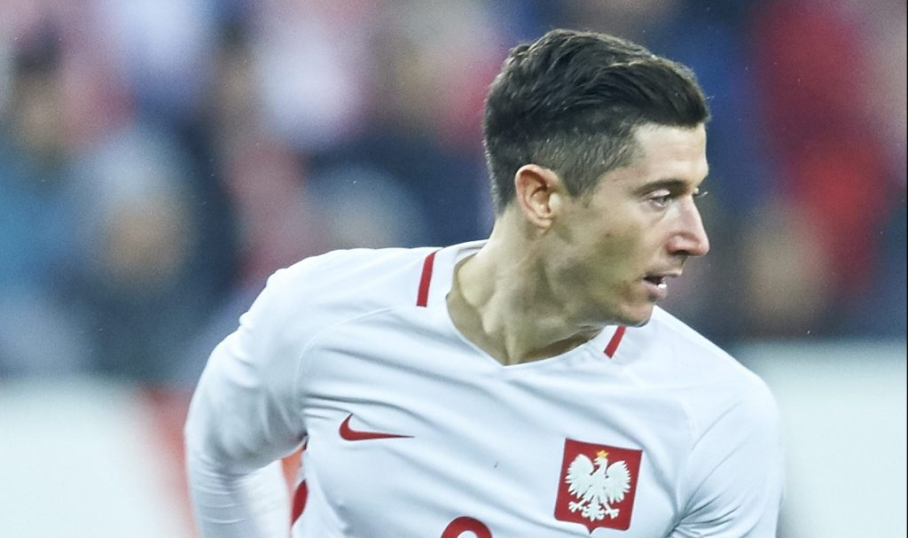 POZNAN, POLAND - MARCH 23: Robert Lewandowski of Poland controls the ball during the international friendly soccer match between Poland and Serbia at the Inea Stadium on March 23, 2016 in Poznan, Poland. (Photo by Adam Nurkiewicz/Getty Images)