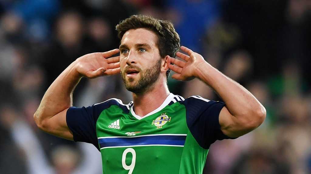 BELFAST, NORTHERN IRELAND - MAY 27: Will Grigg of Northern Ireland celebrates after scoring during the international friendly game between Northern Ireland and Belarus on May 27, 2016 in Belfast, Northern Ireland. (Photo by Charles McQuillan/Getty Images)