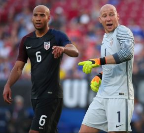 FRISCO, TX - MAY 25: Brad Guzman #1 of the United States reacts after blocking a shot against Ecuador in the first half during an International Friendly match at Toyota Stadium on May 25, 2016 in Frisco, Texas. (Photo by Tom Pennington/Getty Images)