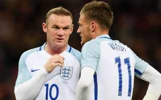 LONDON, ENGLAND - JUNE 02: Wayne Rooney (L) and Jamie Vardy (R) of England speak during the international friendly match between England and Portugal at Wembley Stadium on June 2, 2016 in London, England. (Photo by Shaun Botterill/Getty Images)