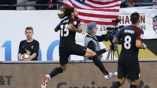 CHICAGO, IL - JUNE 07: Jermaine Jones #13 of United States leaps in the air after scoring a goal against Costa Rica during a match in the 2016 Copa America Centenario at Soldier Field on June 7, 2016 in Chicago, Illinois. (Photo by Jonathan Daniel/Getty Images)