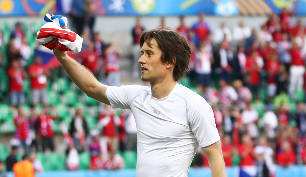 SAINT-ETIENNE, FRANCE - JUNE 17: Tomas Rosicky of Czech Republic gives a supporter his shirt following the UEFA EURO 2016 Group D match between Czech Republic and Croatia at Stade Geoffroy-Guichard on June 17, 2016 in Saint-Etienne, France. (Photo by Julian Finney/Getty Images)