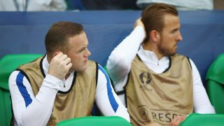 SAINT-ETIENNE, FRANCE - JUNE 20: Wayne Rooney (L) and Harry Kane (R) of England are seen on the bench prior to the UEFA EURO 2016 Group B match between Slovakia and England at Stade Geoffroy-Guichard on June 20, 2016 in Saint-Etienne, France. (Photo by Clive Brunskill/Getty Images)