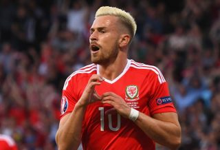 TOULOUSE, FRANCE - JUNE 20: Aaron Ramsey of Wales celebrates after scoring his goal during the UEFA EURO 2016 Group B match between Russia and Wales at Stadium Municipal on June 20, 2016 in Toulouse, France. (Photo by Stu Forster/Getty Images)