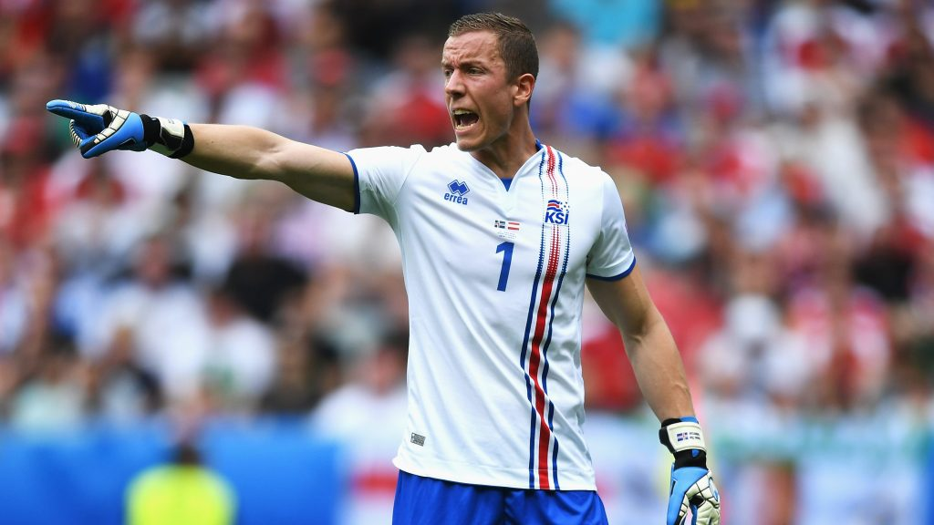 PARIS, FRANCE - JUNE 22:  Hannes Halldorsson of Iceland makes his point, whilst wearing the team away kit, during the UEFA EURO 2016 Group F match between Iceland and Austria at Stade de France on June 22, 2016 in Paris, France.  (Photo by Shaun Botterill/Getty Images)