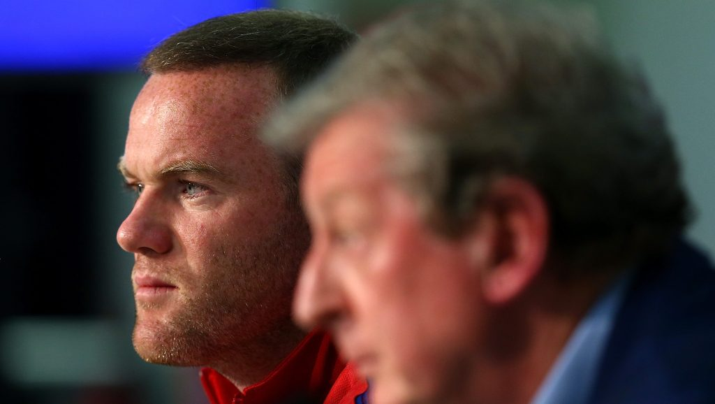 NICE, FRANCE - JUNE 26: In this handout image provided by UEFA, England Captain Wayne Rooney and England manager Roy Hodgson face the media during the England press conference at Allianz Riviera Stadium on June 26, 2016 in Nice, France. (Photo by Handout/Getty Images)