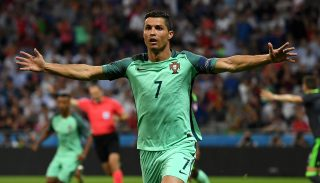 LYON, FRANCE - JULY 06: Cristiano Ronaldo of Portugal celebrates scoring the opening goal during the UEFA EURO 2016 semi final match between Portugal and Wales at Stade des Lumieres on July 6, 2016 in Lyon, France. (Photo by Stu Forster/Getty Images)