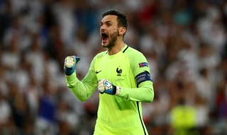 MARSEILLE, FRANCE - JULY 07: Hugo Lloris of France celebrates his team's second goal during the UEFA EURO semi final match between Germany and France at Stade Velodrome on July 7, 2016 in Marseille, France. (Photo by Lars Baron/Getty Images)