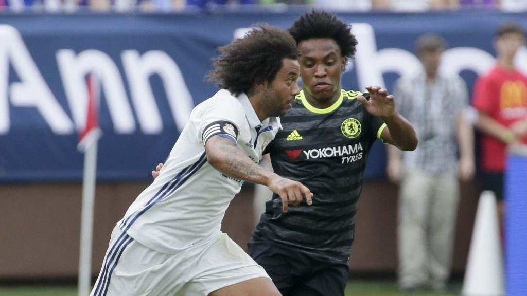 ANN ARBOR, MI - JULY 30:  Willian #22 of Chelsea defends against Marcelo Vieira Da Silva #12 of Real Madrid during the first half at Michigan Stadium on July 30, 2016 in Ann Arbor, Michigan. (Photo by Duane Burleson/Getty Images)