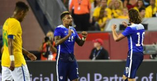 FOXBORO, MA - SEPTEMBER 08: Danny Williams #14 of the United States reacts after scoring a goal during an international friendly against Brazil at Gillette Stadium on September 8, 2015 in Foxboro, Massachusetts. (Photo by Billie Weiss/Getty Images)