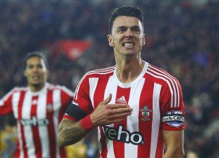 SOUTHAMPTON, ENGLAND - DECEMBER 26: Jose Fonte of Southampton celebrates as he scores their third goal during the Barclays Premier League match between Southampton and Arsenal at St Mary's Stadium on December 26, 2015 in Southampton, England. (Photo by Charlie Crowhurst/Getty Images)