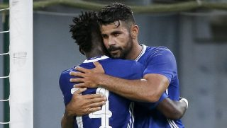 VELDEN, AUSTRIA - JULY 20: Bertrand Traore (C) of Chelsea celebrate scoring a goal with the Diego Costa (R) near goalkeeper Alexander Kofler (L) of WAC RZ Pellets during the international friendly match between WAC RZ Pellets and Chelsea F.C. at Worthersee Stadion on July 20, 2016 in Velden, Austria. (Photo by Srdjan Stevanovic/Getty Images)