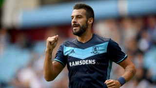 BIRMINGHAM, ENGLAND - JULY 30: Middesbrough forward Alvaro Negredo celebrates his goal during the pre- season friendly between Aston Villa and Middlesbrough at Villa Park on July 30, 2016 in Birmingham, England. (Photo by Stu Forster/Getty Images)