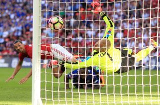 LONDON, ENGLAND - AUGUST 07: Zlatan Ibrahimovic of Manchester United scores his sides second goal during The FA Community Shield match between Leicester City and Manchester United at Wembley Stadium on August 7, 2016 in London, England. (Photo by Ben Hoskins/Getty Images)