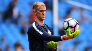 MANCHESTER, ENGLAND - AUGUST 13: Joe Hart of Manchester City warms up prior to kick off during the Premier League match between Manchester City and Sunderland at Etihad Stadium on August 13, 2016 in Manchester, England. (Photo by Stu Forster/Getty Images)