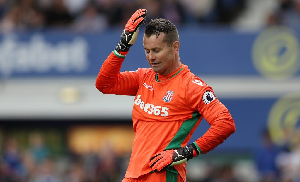 LIVERPOOL, ENGLAND - AUGUST 27: Shay Given of Stoke City reacts after failing to save a penalty during the Premier League match between Everton and Stoke City at Goodison Park on August 27, 2016 in Liverpool, England. (Photo by Lynne Cameron/Getty Images)