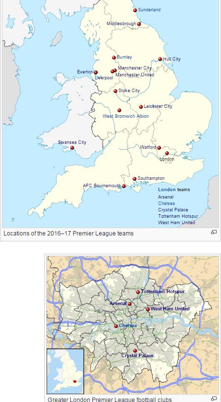 Map of PL teams, 2016-17