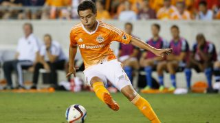 HOUSTON, TX - AUGUST 08: Erick Torres #9 of Houston Dynamo works the ball in the second half against the San Jose Earthquakes during their game at BBVA Compass Stadium on August 8, 2015 in Houston, Texas. (Photo by Scott Halleran/Getty Images)