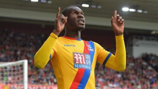 MIDDLESBROUGH, ENGLAND - SEPTEMBER 10: Christian Benteke of Crystal Palace celebrates scoring his sides first goal during the Premier League match between Middlesbrough and Crystal Palace at Riverside Stadium on September 10, 2016 in Middlesbrough, England.  (Photo by Mark Runnacles/Getty Images)