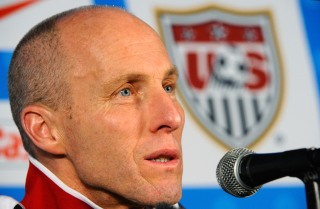 PRETORIA, SOUTH AFRICA - JUNE 24: Head coach Bob Bradley of USA speaks during a press conference at Irene Farm on June 24, 2010 in Irene south of Pretoria, South Africa. United States will play their second round 2010 World Cup match against Ghana on Saturday, June 26, 2010, at Royal Bafokeng Stadium in Rustenburg, South Africa. (Photo by Kevork Djansezian/Getty Images)