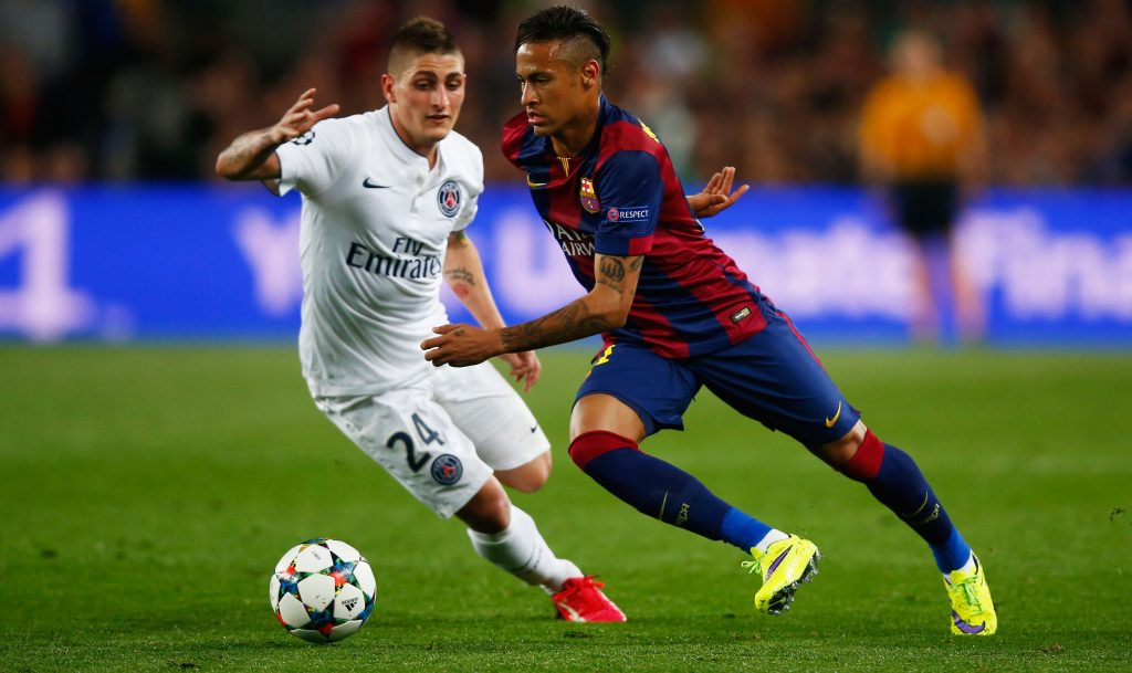 BARCELONA, SPAIN - APRIL 21: Neymar of Barcelona takes on Marco Verratti of PSG during the UEFA Champions League Quarter Final second leg match between FC Barcelona and Paris Saint-Germain at Camp Nou on April 21, 2015 in Barcelona, Spain. (Photo by Clive Rose/Getty Images)