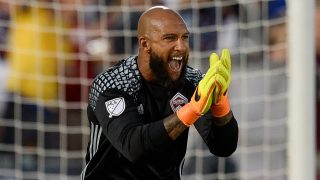 COMMERCE CITY, CO - JULY 23: Tim Howard #1 of the Colorado Rapids celebrates after making a first half save against the FC Dallas at Dick's Sporting Goods Park on July 23, 2016 in Commerce City, Colorado. (Photo by Dustin Bradford/Getty Images)