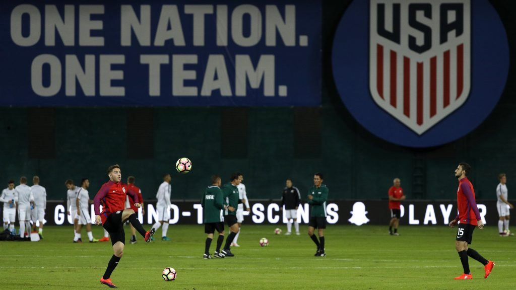WASHINGTON, DC - OCTOBER 11: Lynden Gooch #13 of United States and teammates warm up before playing New Zealand during an International Friendly at RFK Stadium on October 11, 2016 in Washington, DC. (Photo by Patrick Smith/Getty Images)