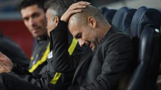 BARCELONA, SPAIN - OCTOBER 19: Josep Guardiola, Manager of Manchester City scratches his head prior to the UEFA Champions League group C match between FC Barcelona and Manchester City FC at Camp Nou on October 19, 2016 in Barcelona, Spain. (Photo by Shaun Botterill/Getty Images)