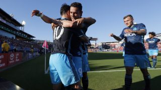 Seattle Sounders' Nicolas Lodeiro (10), Herculez Gomez, center, and Jordan Morris, right, celebrate a goal by Lodeiro in the first half of an MLS soccer match against FC Dallas, Sunday, Oct. 16, 2016, in Frisco, Texas. (AP Photo/Tony Gutierrez)