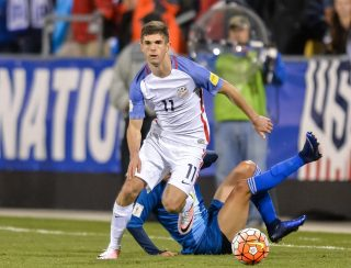 COLUMBUS, OH - MARCH 29: Christian Pulisic #11 of the United States Men's National Team controls the ball against Guatemala during the FIFA 2018 World Cup qualifier on March 29, 2016 at MAPFRE Stadium in Columbus, Ohio. The United States defeated Guatemala 4-0. (Photo by Jamie Sabau/Getty Images)
