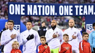 COLUMBUS, OH - NOVEMBER 11: The United States stand for the playing of the National Anthem prior to the FIFA 2018 World Cup Qualifier against Mexico at MAPFRE Stadium on November 11, 2016 in Columbus, Ohio. (Photo by Jamie Sabau/Getty Images)