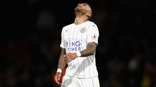 WATFORD, ENGLAND - NOVEMBER 19: Danny Simpson of Leicester City reacts during the Premier League match between Watford and Leicester City at Vicarage Road on November 19, 2016 in Watford, England. (Photo by Christopher Lee/Getty Images)