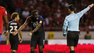 United States' Jozy Altidore, center, protests to referee Cesar Ramos, of Mexico, during a 2018 World Cup qualifying soccer match against Costa Rica, in San Jose, Costa Rica, Tuesday, Nov. 15, 2016. (AP Photo/Moises Castillo)