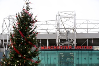 MANCHESTER, ENGLAND - DECEMBER 14: General View of a Christmas tree at the front of the stadium prior to the Barclays Premier League match between Manchester United and Liverpool at Old Trafford on December 14, 2014 in Manchester, England. (Photo by Alex Livesey/Getty Images)