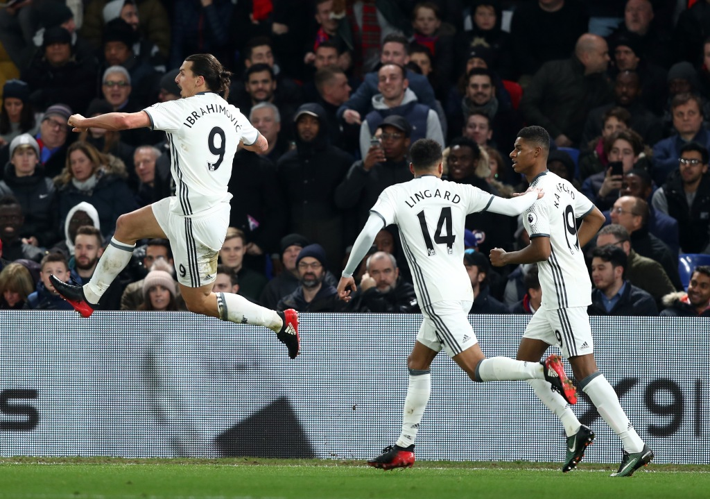 LONDON, ENGLAND - DECEMBER 14: Zlatan Ibrahimovic (L) of Manchester United celebrates scoring his team's second goal during the Premier League match between Crystal Palace and Manchester United at Selhurst Park on December 14, 2016 in London, England. (Photo by Clive Rose/Getty Images)