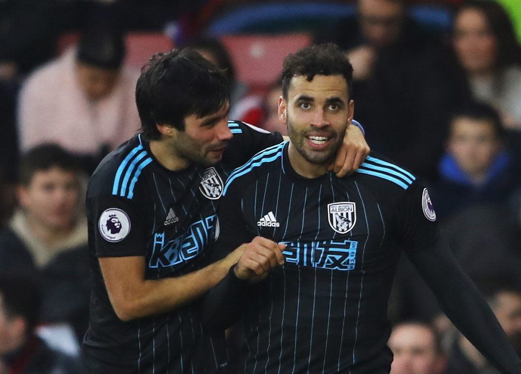 SOUTHAMPTON, ENGLAND - DECEMBER 31: Hal Robson-Kanu (R) of West Bromwich Albion celebrates scoring his side's second goal with his team mate Claudio Yacob (L) during the Premier League match between Southampton and West Bromwich Albion at St Mary's Stadium on December 31, 2016 in Southampton, England. (Photo by Warren Little/Getty Images)