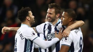 WEST BROMWICH, ENGLAND - JANUARY 02: Gareth McAuley of West Bromwich Albion (C) celebrates scoring his sides second goal with Jose Salomon Rondon of West Bromwich Albion (R) and Hal Robson-Kanu of West Bromwich Albion (L) during the Premier League match between West Bromwich Albion and Hull City at The Hawthorns on January 2, 2017 in West Bromwich, England. (Photo by Julian Finney/Getty Images)