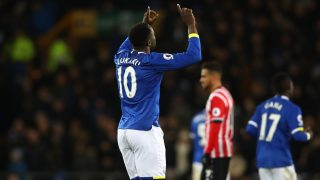 LIVERPOOL, ENGLAND - JANUARY 02: Romelu Lukaku of Everton celebrates scoring his team's third goal during the Premier League match between Everton and Southampton at Goodison Park on January 2, 2017 in Liverpool, England. (Photo by Clive Brunskill/Getty Images)