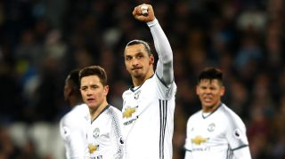 STRATFORD, ENGLAND - JANUARY 02: Zlatan Ibrahimovic of Manchester United celebrates scoring his team's second goal during the Premier League match between West Ham United and Manchester United at London Stadium on January 2, 2017 in Stratford, England. (Photo by Ian Walton/Getty Images)