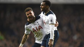 LONDON, ENGLAND - DECEMBER 18:  Danny Rose of Tottenham Hotspur celebrates scoring their second goal with Kyle Walker of Tottenham Hotspur during the Barclays Premier League match between Tottenham Hotspur and Burnley at White Hart Lane on December 18, 2016 in London, England.  (Photo by Tony Marshall/Getty Images)
