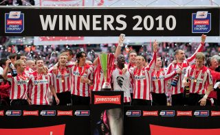 LONDON, ENGLAND - MARCH 28: Southampton celebrate after winning the Johnstone's Paint Trophy Final between Southampton and Carlisle United at Wembley Stadium on March 28, 2010 in London, England. (Photo by Shaun Botterill/Getty Images)