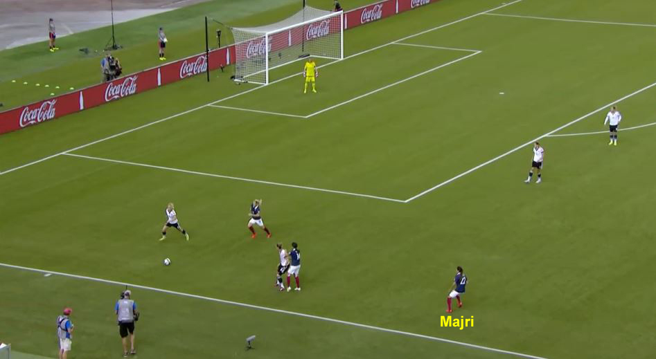 France LB Majri pushes high up the pitch against Germany.