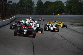 Weiron Tan leading in Pro Mazda. Photo: IMS Photography, LLC