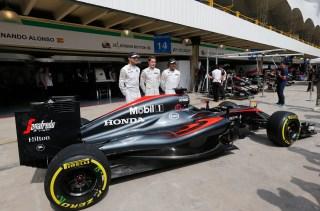 Jenson Button, Fernando Alonso, Stoffel Vandoorne. Photo: Associated Press