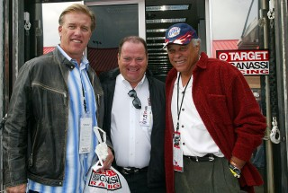 "From left to right, NFL great John Elway, IndyCar and NASCAR team owner Chip Ganassi and Don ""The Snake"" Prudhomme."