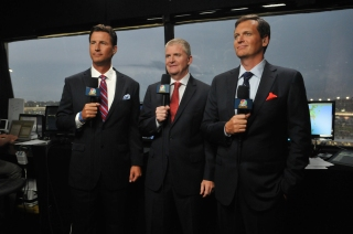 Rick Allen with Jeff Burton and Steve Letarte in the NBC Sports NASCAR booth