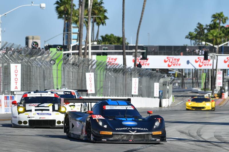 Taylors lead Porsche/Corvette. Photo courtesy of IMSA